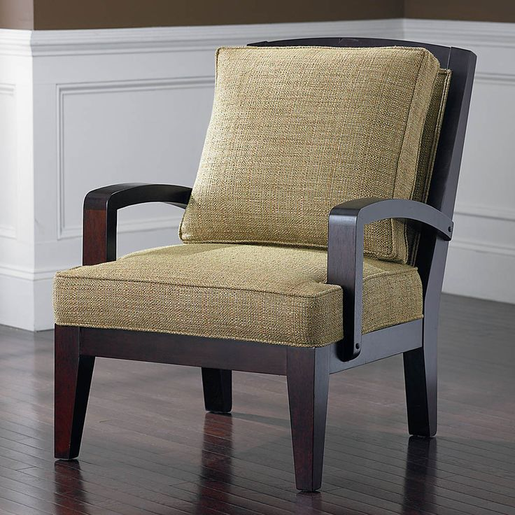 the deville accent chair by bassett furniture features an exposed wood frame - Wood Frame Accent Chairs