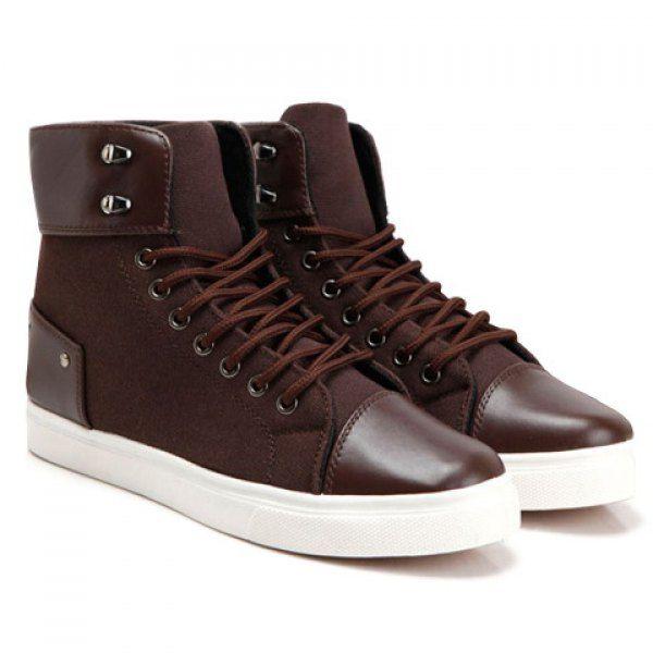 Stylish Splice and Rivets Design Canvas Shoes For Men, BROWN, 43 in Men's Shoes | DressLily.com