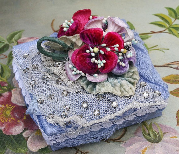 Jewelled Box with Vintage Millinery Corsage