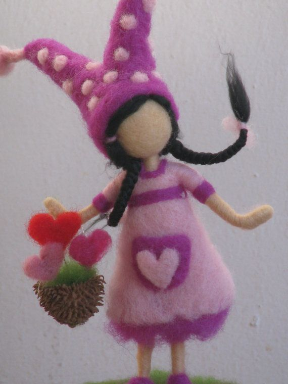 """The garderner of love, Happy Valentine's Day, needle felted way to say: """"I love you"""", Waldorf inspired #needlefelted #doll #gift #valentines #love #heart #cute #purple"""