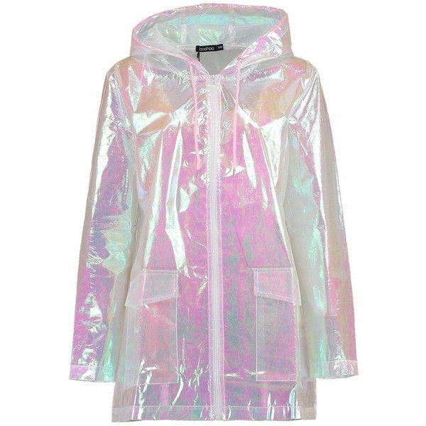 Boohoo Freya Mermaid Holographic Rain Mac (€52) ❤ liked on Polyvore featuring outerwear, coats, jackets, tops, wrap coat, puffer coat, boohoo coats, bomber coat and mac coat