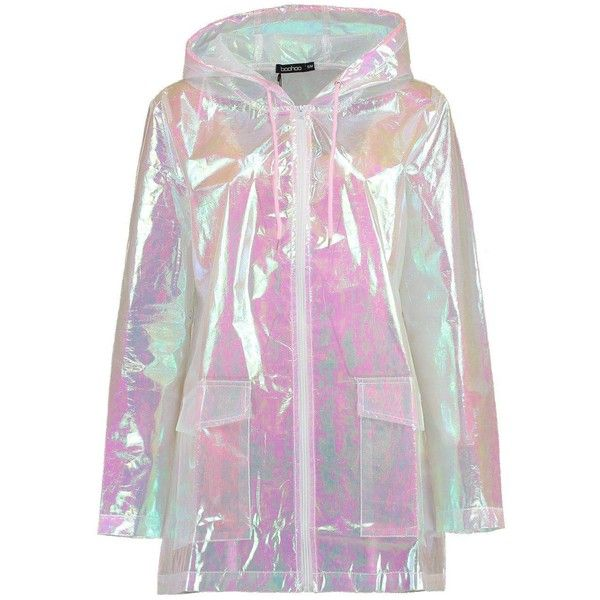 Boohoo Freya Mermaid Holographic Rain Mac ($60) ❤ liked on Polyvore featuring outerwear, coats, rain coat, puff sleeve coat, puff coat, holographic coat and duster coat