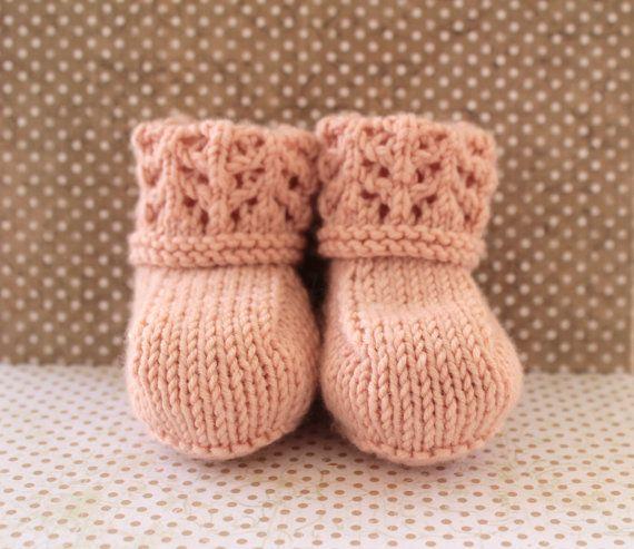 Peach Baby BootiesLuxury Baby BootiesGirls Crib by Pinknitting