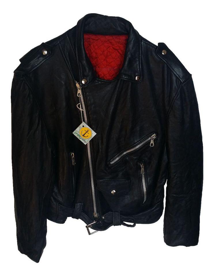 giubbino chiodo vera pelle nero vintage usato jacket very leather black used