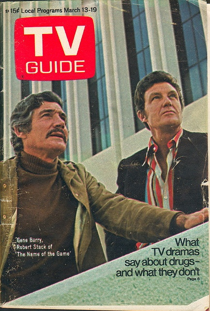 """March 13, 1971. Gene Barry and Robert Stack of NBC's """"Name of the Game."""""""