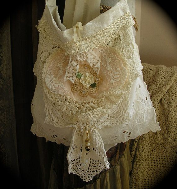 CHIC Shabby Purse embellished with white doily and laces, handmade by TatteredDelicates