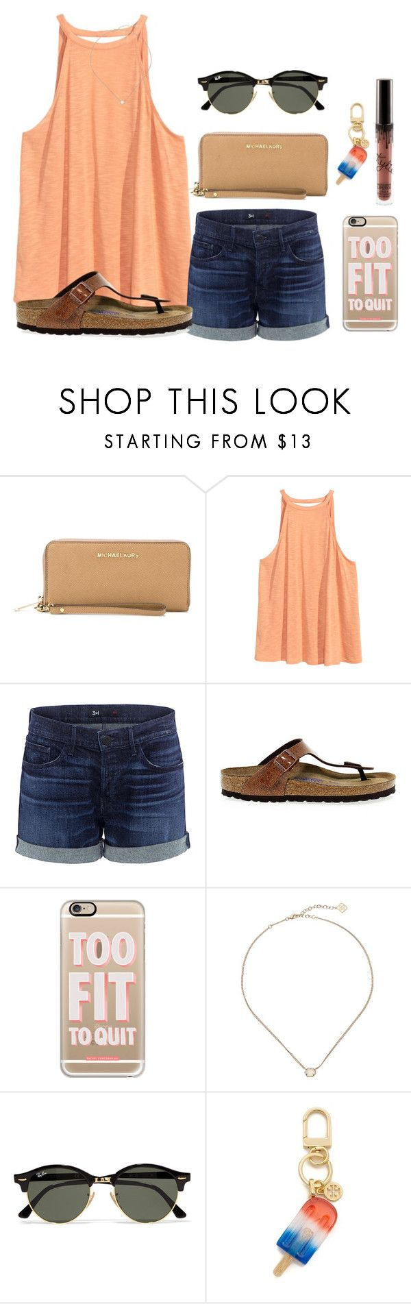 """""""I don't mean to brag I don't mean to boast, I love all y'all but I love me the most - """"I love Me"""" by Meghan Trainor"""" by kari-luvs-u-2 ❤ liked on Polyvore featuring MICHAEL Michael Kors, H&M, 3x1, Birkenstock, Casetify, Kendra Scott, Ray-Ban and Tory Burch"""