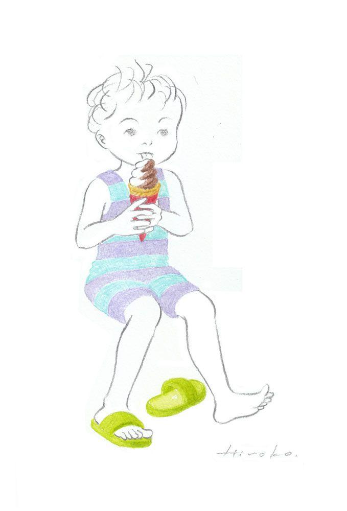 『夏の楽しみ』 色鉛筆・鉛筆 28cm×19cm