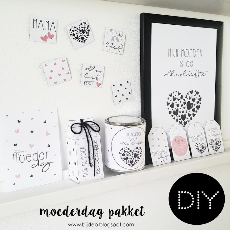 DIY Moederdag pakket met free printables en free downloads. www.bijdeb.blogspot.com