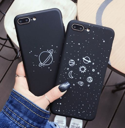itGirl Shop BLACK PLANETS GALAXY IPHONE COVER Aesthetic Apparel, Tumblr Clothes, Soft Grunge, Pastel goth, Harajuku fashion. Korean and Japan Style lo…