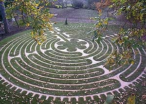 The Tofte Labyrinth Our award winning collaboration with Jeff Saward. Based on the medieval pavement labyrinth in Chartres Cathedral, France.  Buried beneath the grass paths, 600 metres of copper pipe carries water to the centre of the labyrinth before spiralling over a large quartz crystal. It then returns to a tap from which labyrinth walkers may drink the water energised by the sacred patterning of the labyrinth