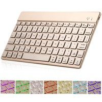 Wish | F3S Universal Ultra Thin Portable Bluetooth Keyboard with 7 Color Backlit Small Wireless Keyboard for Ios Android Windows Tablets Smart Phones