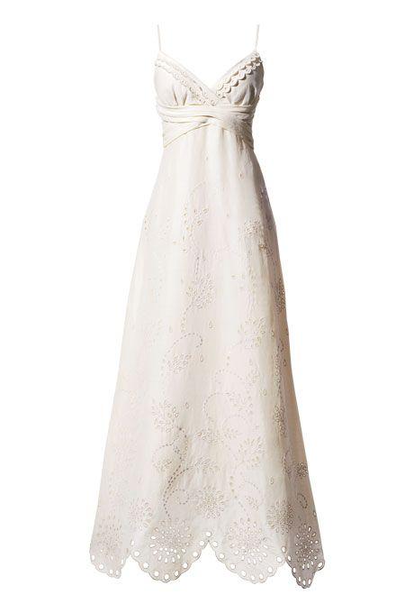 Brides.com: Wedding Dresses for Petite Figures. Ivory silk-linen eyelet wedding dress, BHLDN