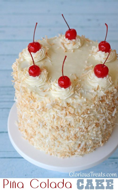 Pina Colada Cake by Glory Albin,  recipe at TidyMom.net--a pineapple cake with coconut cream cheese frosting, yummy for summer!