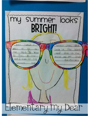 My Summer Looks Bright! Includes template for sunglasses to write about their summer plans and background page to draw themselves on