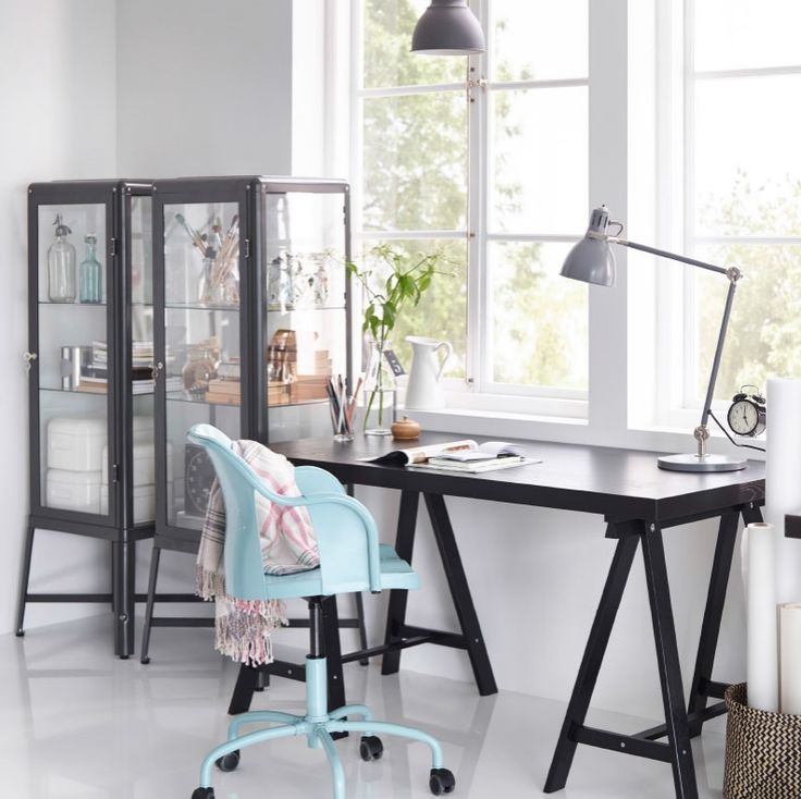Highlight Creativity With Dark Contrasts Like This Home Office With  TORNLIDEN Desk In Black, Dark