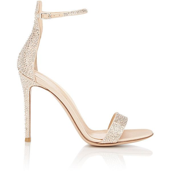 Gianvito Rossi Women's Glam Ankle-Strap Sandals found on Polyvore featuring shoes, sandals, heels, sapatos, nude, ankle wrap sandals, ankle strap shoes, ankle tie sandals, nude shoes and high heel sandals