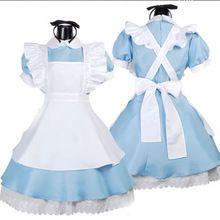 Halloween Trajes Da Empregada Doméstica Das Mulheres Adulto Alice no País Das Maravilhas Traje Terno Lolita Maids Fancy Dress Cosplay para As Mulheres Menina(China (Mainland))