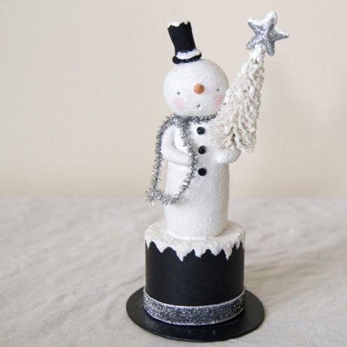 Vintage style Christmas folk art  tall snowman figure  £22.00