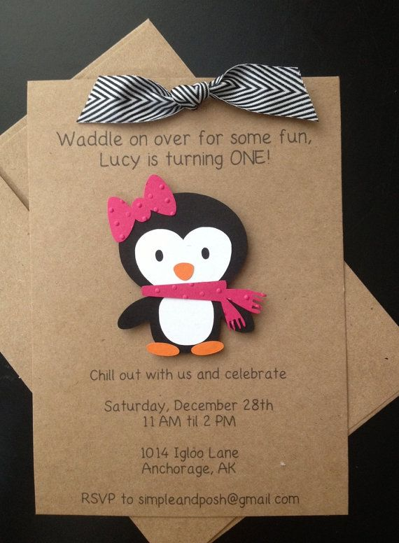 Penguin Girl Handmade Invitations Custom Made for by SimpleandPosh