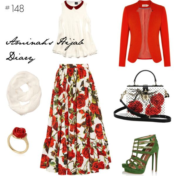Aminah´s Hijab Diary #hijab #muslimah #fashion #modest #outfit #style #ootd #summer #look #red #white #green #dolceandgabbana #rose #skirt #blazer