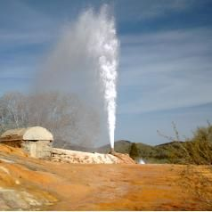 This is the Soda Springs Geyser in Idaho, which may be the best geyser in North America outside of Yellowstone National Park. For more info, and a video of an eruption, see: http://www.infobarrel.com/Cold_Water_Geyser_in_Idaho_USA_Soda_Springs