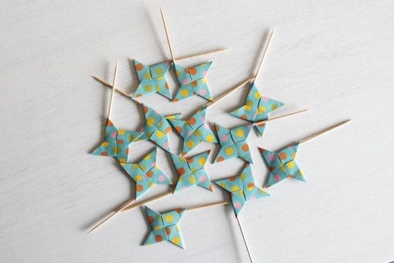 12 cupcake toppers . origami ninja star . wedding cupcake toppers . party cupcake picks -teal dots