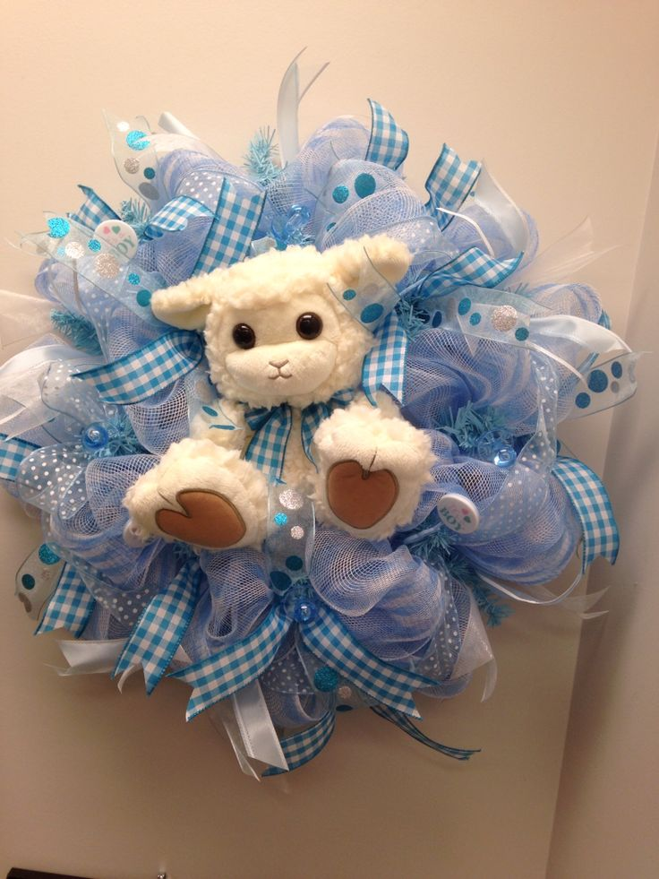Deco Mesh wreath I made for a baby shower.