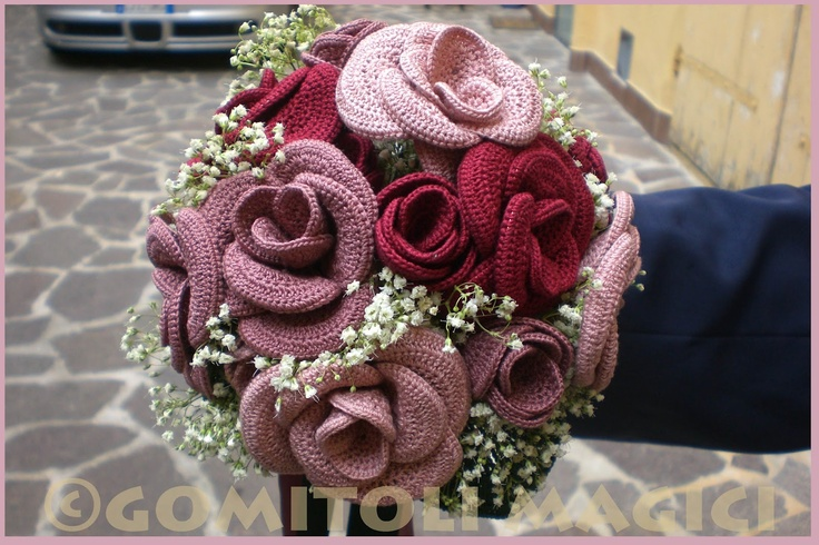 Crocheted wedding bouquet,Bridal Bouquet of Bubble ,lule per martes ...