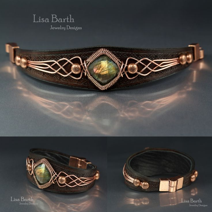 Labradorite in a hand woven frame and also I cut, tooled, dyed and finished the leather for the Lab. -Lisa Barth