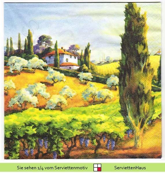 Ein Haus in der Toscana - 4 Servietten von Serviettenhaus auf DaWanda.com
