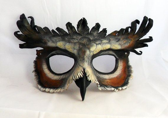 New Great Horned Owl Leather Mask by LibertiniArts on Etsy, $115.00