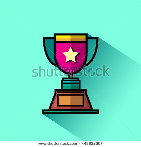 Trophy cup flat icon with long shadow. Vector illustration.