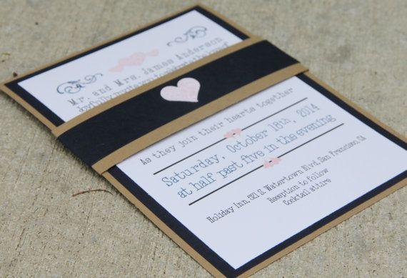 Handmade Wedding Invitation, Navy Blue and Brown, Belly Band, Invite, RSVP, SAMPLE SET