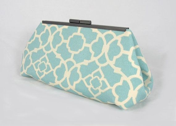 Tiffany blue Lattice clutch lined with contrast  color faux silk - Framed Clutch-  Purse - Bag