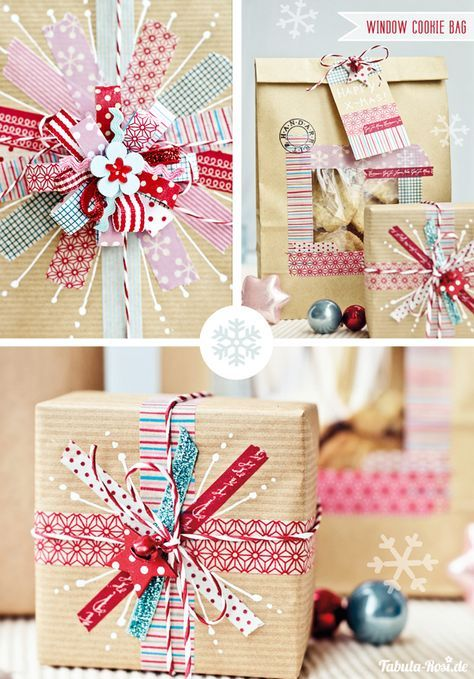 ☆ DIY gift wrapping with washi tape and kraft paper