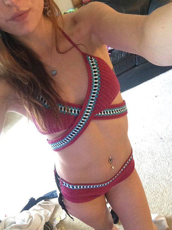 crochet bikini top, crochet bikini, tribal bikini, boho bikini, crochet swimsuit, crochet top, choose your colors