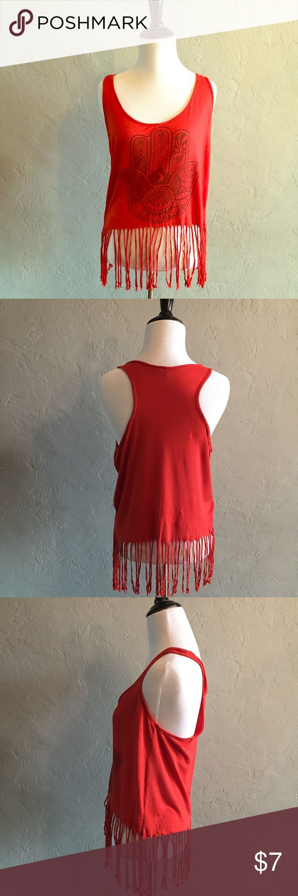 Rue 21 fringe tank top Rue 21 tribal hand fringe tank top. Cute, fun fringe tank. Perfect for lake days and BBQ's. no size tag but looks like a small. Rue 21 Tops Tank Tops