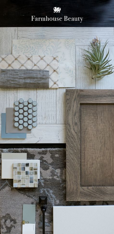 Let muted patterns, cloudy-sky hues, and rustic, reclaimed woods inspire your farmhouse kitchen renovation. [Featured Design: Kirkstead™️]