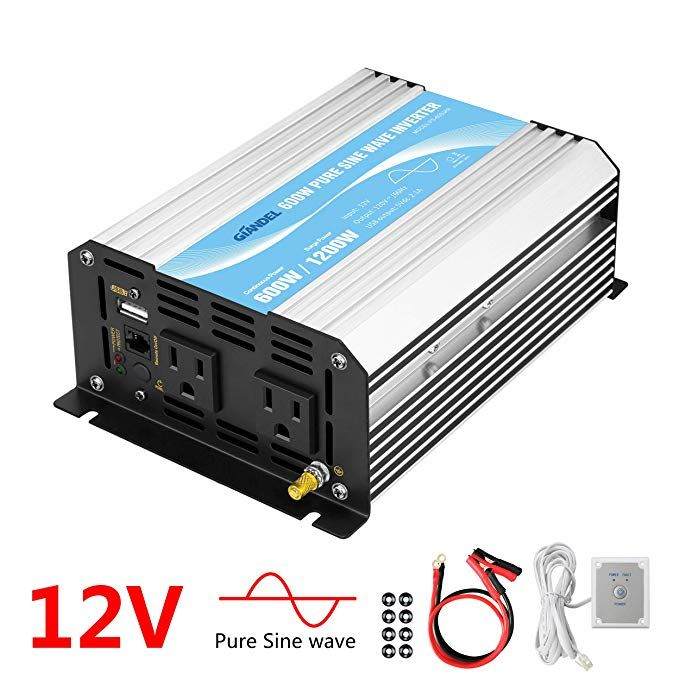 Power Inverter Pure Sine Wave 600watt 12v Dc To 110v 120v With Remote Control Dual Ac Outlets And Usb Port For Cpap Rv Power Inverters Sine Wave Remote Control