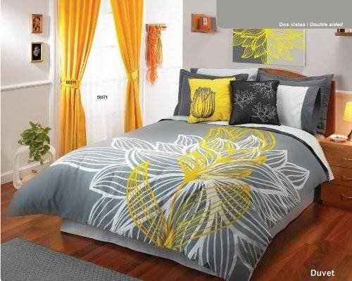 Yellow Gray White Comforter Duvet Sheets Bedding Set Queen 11 Pcs many gray and yellow bedding combinations