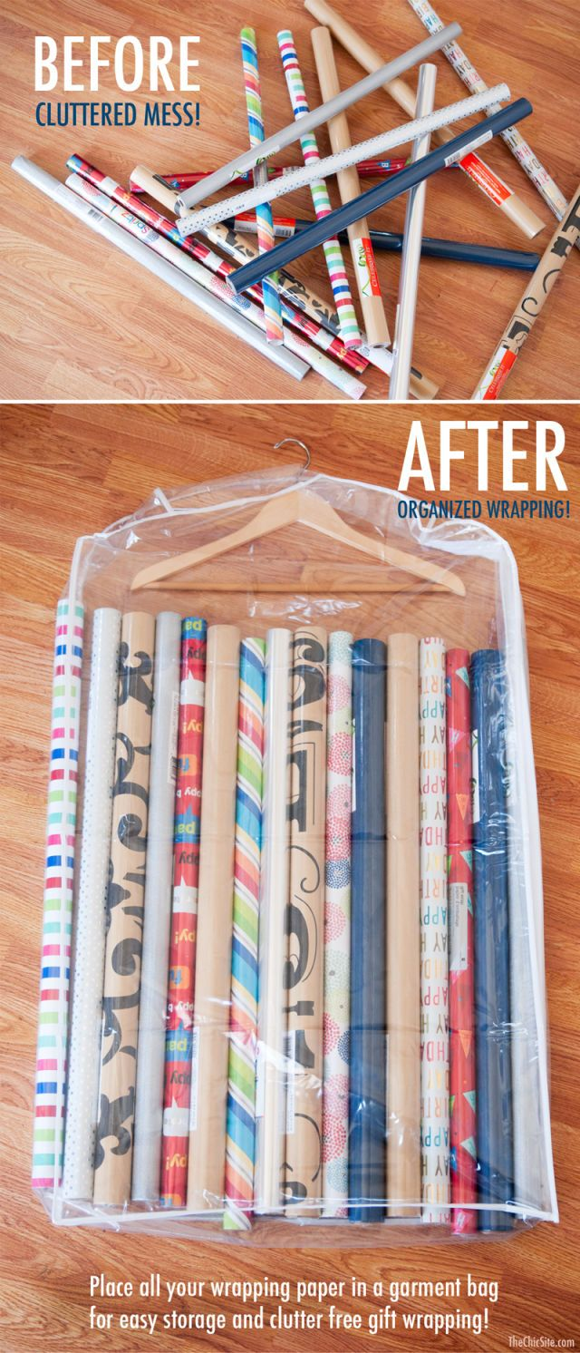 Use a garment bag to declutter wrapper paper confusion. To stash your supplies away, use a hanger & garment bag to tuck it into your closet until the next wrapping season.