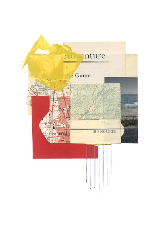 "© Sally Herman 2016 Edition 3(B) 10""x8"" collage, vintage maps, acrylic and thread on paper"