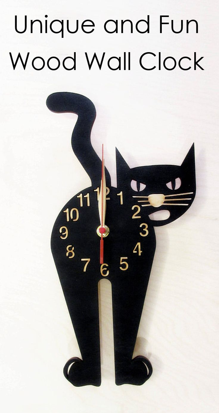 4b7fcb31e Crazy Cat Lady Approved! Unique and fun Wood Black Cat Clock. Perfect gift  for cat lovers.  ad