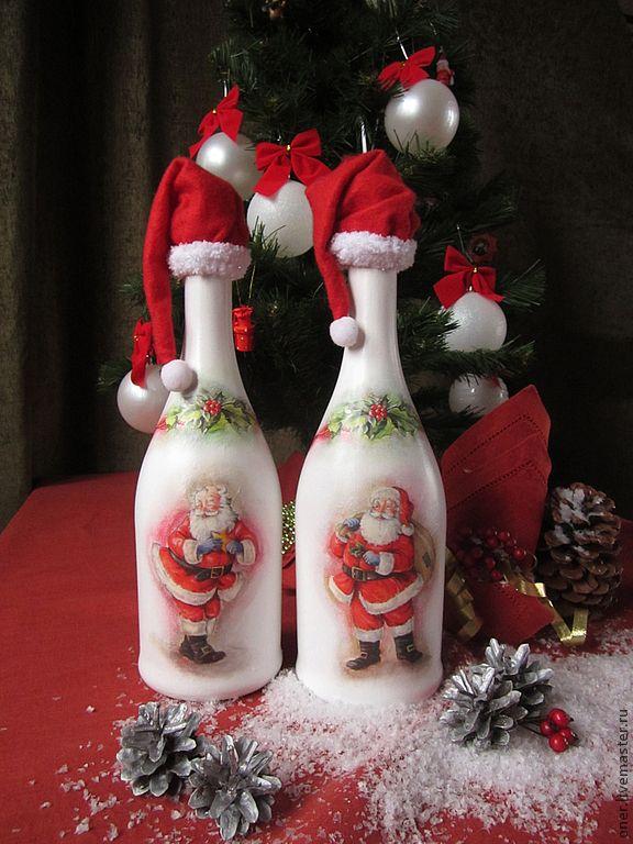 Купить Санты уже готовы)) новогодний декор бутылок. - оформление шампанского, подарок, санта клаус