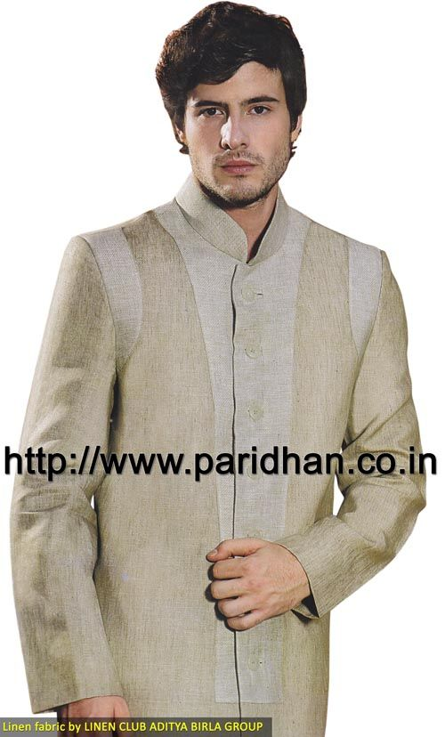 Good looking linen suit made in natural and light cardamom color pure linen fabric. It has bottom as trouser made in same color fabric. Dryclean only.
