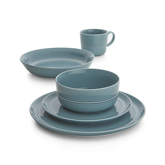 Shop Set of 4 Hue Blue Salad Plates.  Our fresh, contemporary porcelain pattern from designer Aaron Probyn tells a mix 'n' match color story, hand-glazed in eight soft, soothing hues.