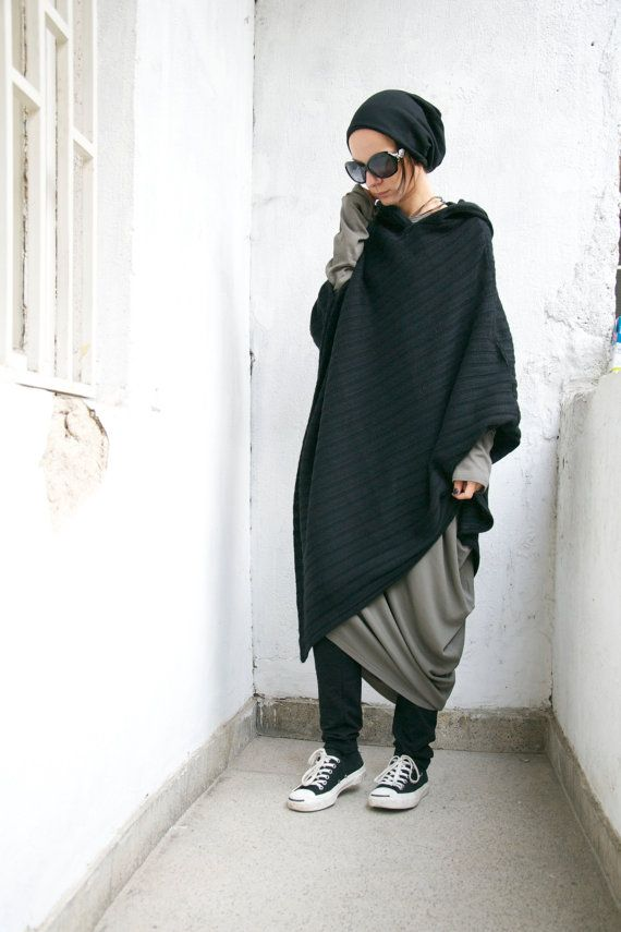 Black Hooded Knit Poncho / Extravarant Knit Asymmetric Hoodie / Knit Cotton Top/ Oversized Top