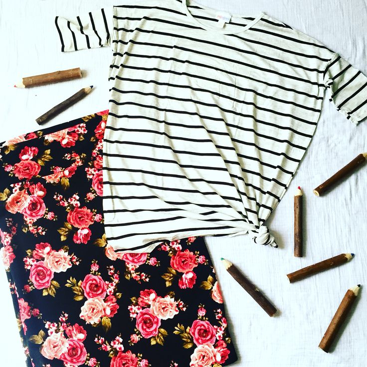 Black and white striped Irma paired with a floral Cassie. Perfect for fall! LuLaRoe Ragan Burkley https://www.facebook.com/groups/LuLaRoeRaganBurkley/