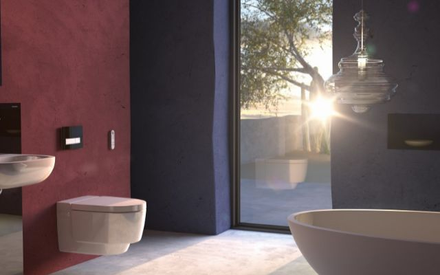 The Geberit AquaClean Mera shower toilet featuring the latest in toilet technology. With an orientation light, heated seat, proximity sensor to lift the lid, Whirlspray shower technology, odour extraction & a warm air dryer.